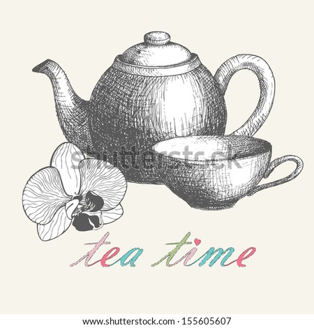 Card design with hand drawn orchid flower, cup and teapot . Vector  vintage background - stock vector