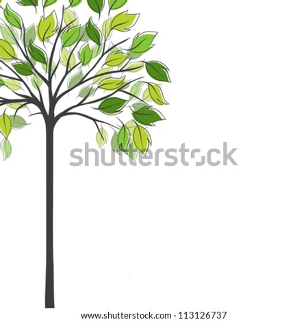 Card design with stylized trees and text. - stock vector