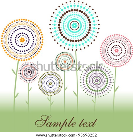 Card - flowers of dot & circles - stock vector