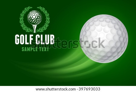 Card for Golf Club with Flying Golf Ball on Green Background. Realistic Vector Illustration.  - stock vector