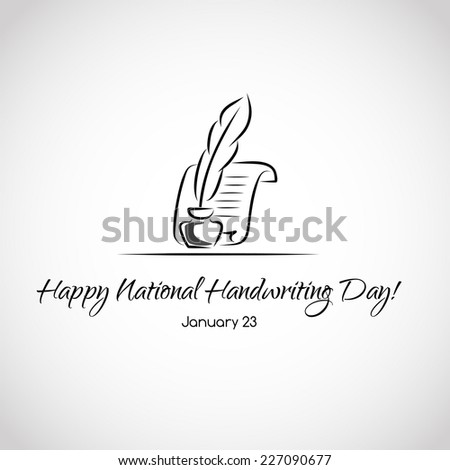 Card for national handwriting day - stock vector