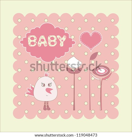 card for the birthday girl with a bird - stock vector