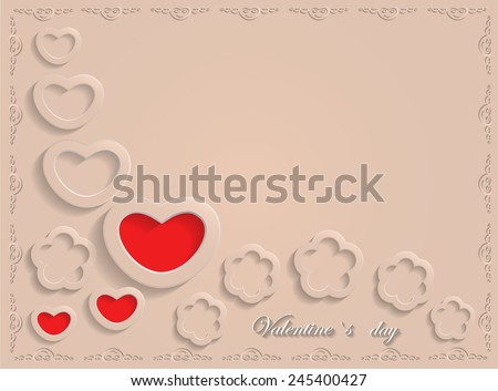 Card for Valentine's Day on a Beige Background. Vector illustration - stock vector