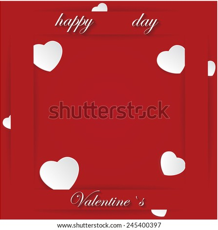 Card for Valentine's Day on a Red Background. Vector illustration - stock vector