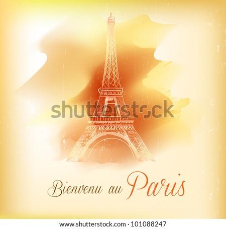 Card from Paris, vector - stock vector
