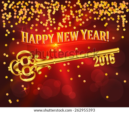 Card Happy New Year 2016 on bright red background festive glittering gold confetti & vintage golden key. Concept of the beginning year open path prosperity & well-being. Vector illustration EPS 10 - stock vector