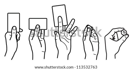 card in hand, coin in hand - stock vector