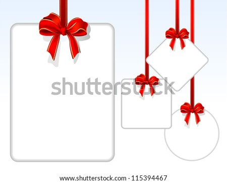 Card notes with red gift bows with ribbons. Vector. - stock vector