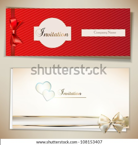 Card notes with ribbons. Red and white invitations - stock vector