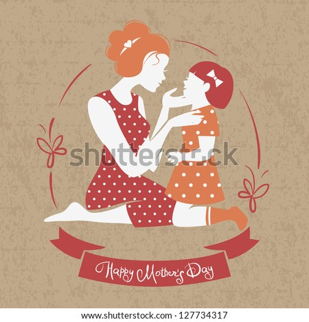 Card of Happy Mother's Day. Beautiful mother silhouette with her daughter - stock vector