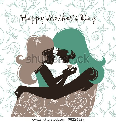 Card of Happy Mothers Day. Beautiful mother silhouette with her daughter - stock vector