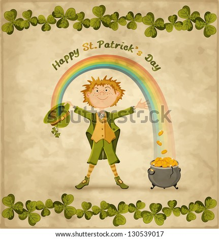 Card on St. Patrick's Day with cartoon leprechaun and rainbow. Vintage background. Vector illustration. - stock vector