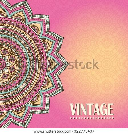 Card or invitation. Vintage decorative elements. Oriental pattern, vector illustration.  Islam, Arabic, Indian, turkish, pakistan, chinese, ottoman motifs - stock vector