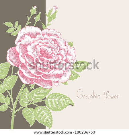 Card or invitation with abstract floral background. Greeting card in grunge or retro style. Elegance pattern with flowers roses, floral illustration in vintage style Valentine Classic romantic. - stock vector