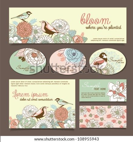 card/ sticker design with floral & birds - stock vector