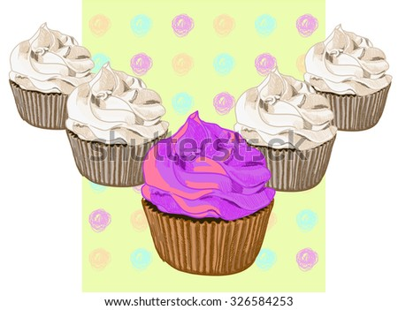 Card template with hand drawn muffins. VECTOR. Pink muffin and blue background - stock vector