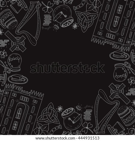 Card template with Ireland related hand drawn icons including irish coffee; irish round tower and others. Doodle vector Ireland related collection - stock vector