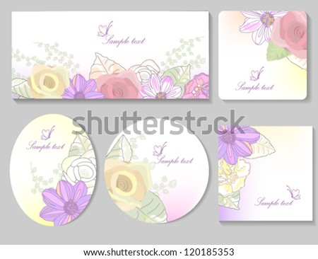 card templates with flowers background retro - stock vector