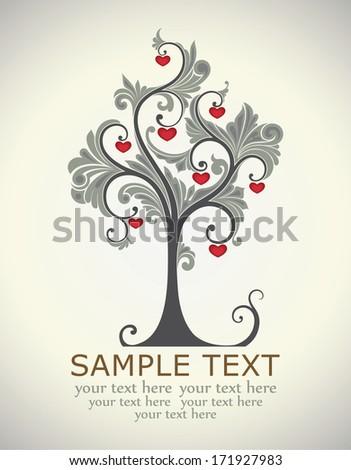 Card, tree love - stock vector
