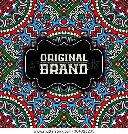 Card. Vintage decorative elements. Ornamental floral business cards, oriental pattern, vector illustration.  Islam, Arabic, Indian, turkish, pakistan, chinese, ottoman motifs. - stock vector