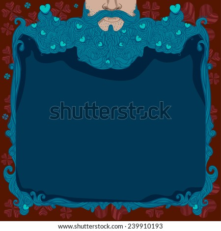 card with a bearded hipster with hearts, poster, party in honor of Valentine's Day. Cupid Cherub - stock vector