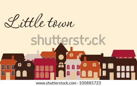 Card with a beautiful little  town. Vector illustration - stock vector