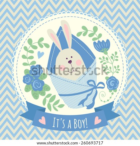 Card with a bunny. It's a boy! - stock vector