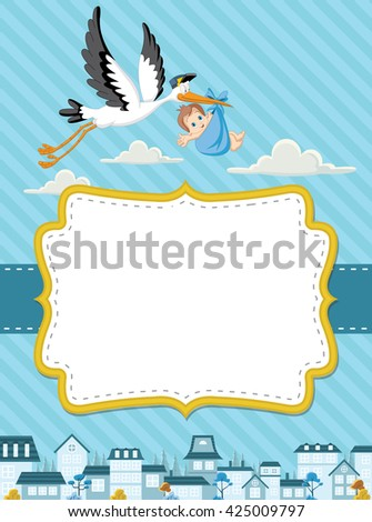 Card with a cartoon stork delivering a newborn baby boy  - stock vector
