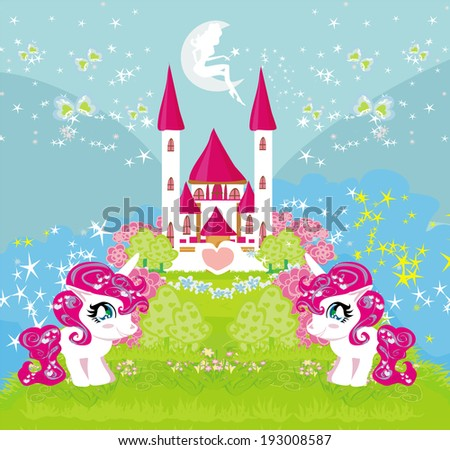 Card with a cute unicorns and magical castle - stock vector