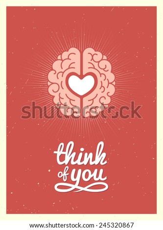Card with a picture of the brain and heart in a retro style. Vector Illustration. - stock vector