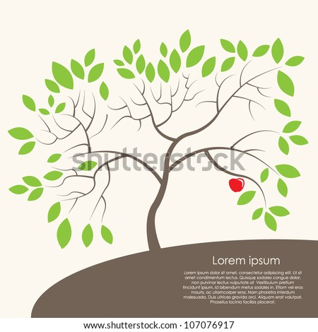 card with a stylized tree - stock vector