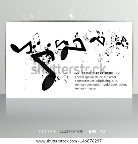 Card with abstract background with music notes - stock vector