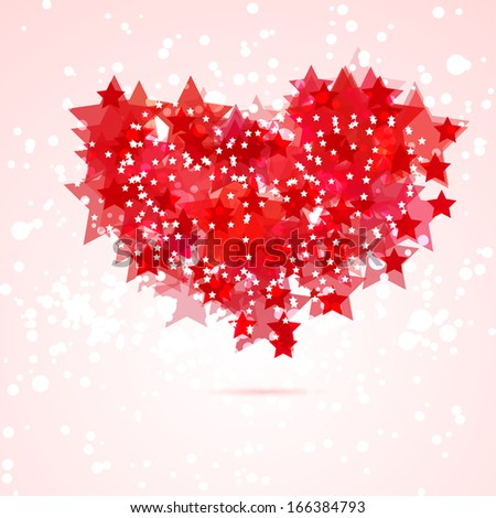 card with abstract heart by red stars - stock vector