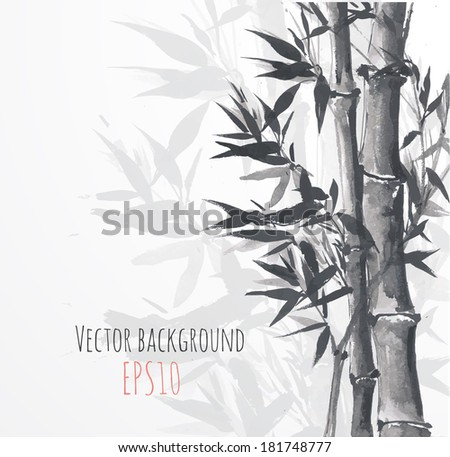 Card with bamboo on white background in sumi-e style. Hand-drawn with ink. Vector illustration.  - stock vector