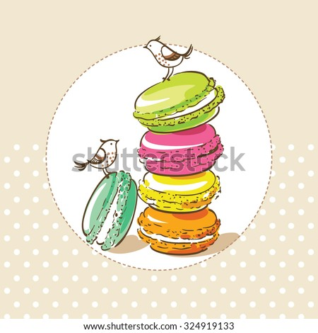 card with birds and french dessert macarons - stock vector