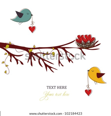 Card with birds and hearts,love card - stock vector