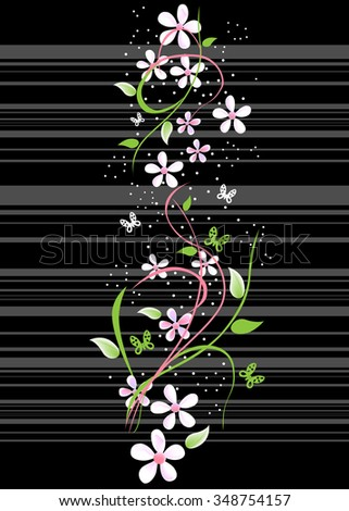Card with blossoming oriental cherry branch in traditional japanese - stock vector