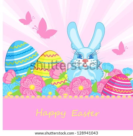 Card with blue bunnies and Easter eggs - stock vector