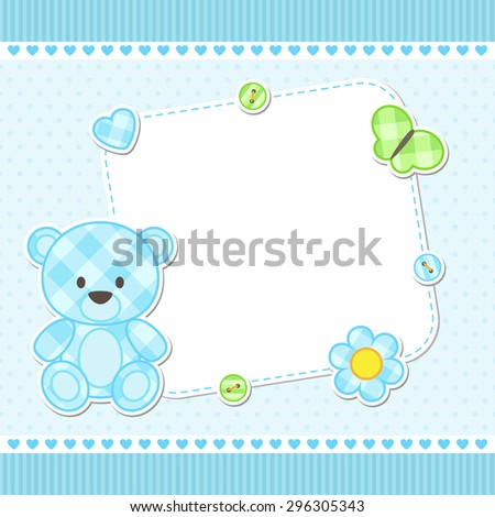 Card with blue teddy bear for boy. Vector template with place for your text - stock vector