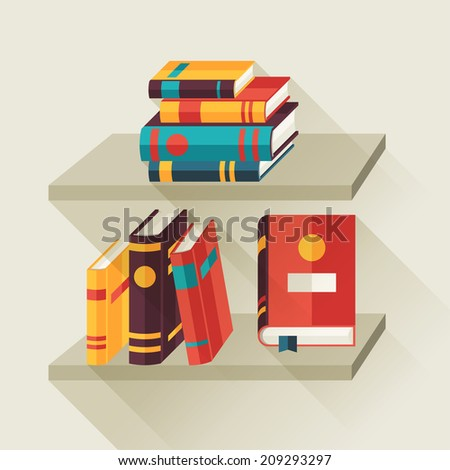 Card with books on bookshelves in flat design style. - stock vector