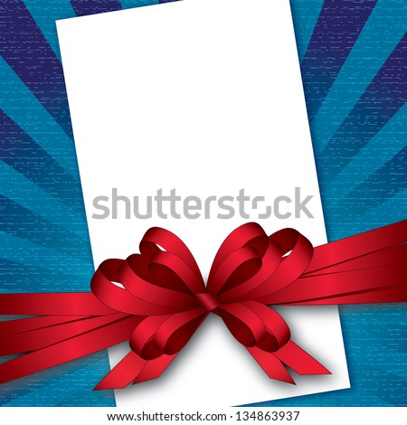 card with bow and textured background - stock vector