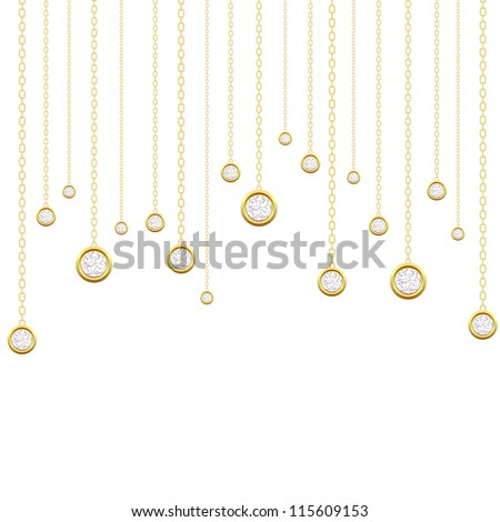 Card with brilliants on a white background. Vector illustration - stock vector