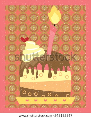 Card with cake, with cream and red hear, romantic floral background - stock vector