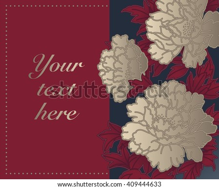 Card with Chinese Chrysanthemums - stock vector