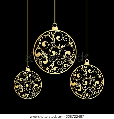 Card with Christmas balls on black background. vector illustration. - stock vector