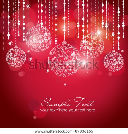 Card with christmas balls, vector illustration - stock vector