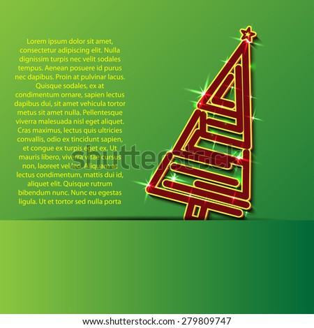 card with christmas tree - stock vector