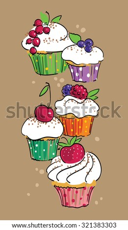 card with cupcakes - stock vector