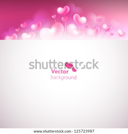 Card with cute glossy hearts on blurred background. Vector versi - stock vector