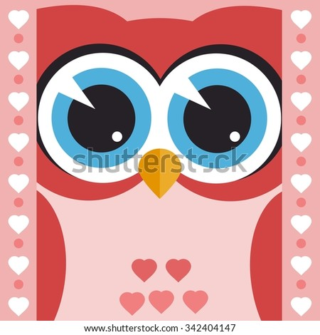 card with cute owl - stock vector